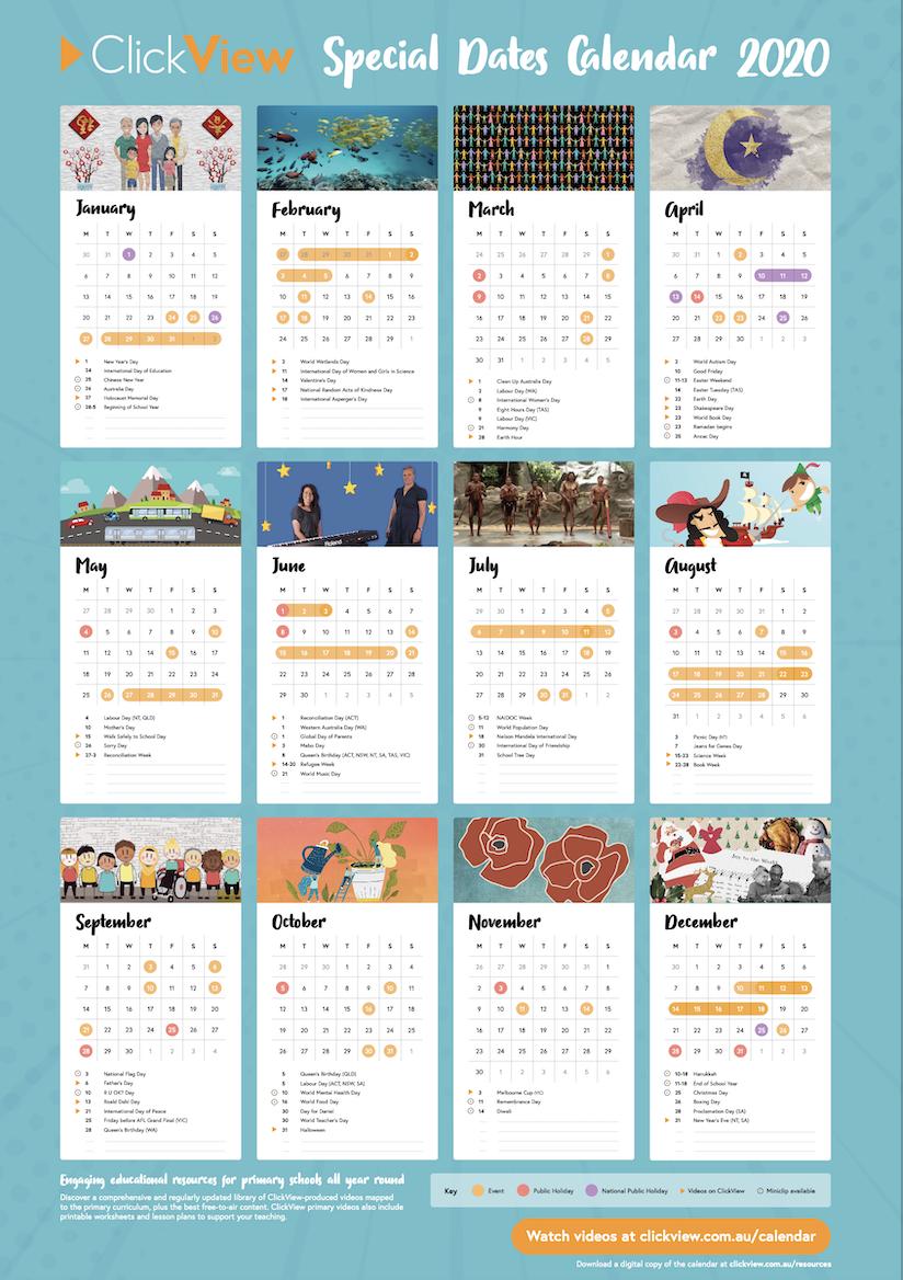 Primary Special Dates Calendar 2020