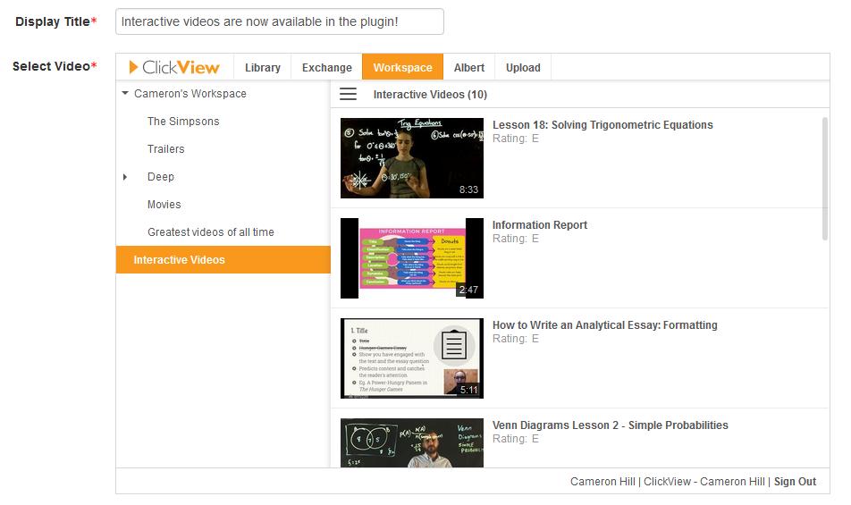 Interactive Videos in ClickView Plugin